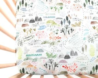 Crib Sheet Wilderness Map. Fitted Crib Sheet. Baby Bedding. Crib Bedding. Woodland Crib Sheet. Adventure Nursery.