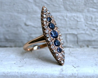 RESERVED - Antique 14K Rose Gold Diamond and Sapphire Navette Ring - 2.53ct.