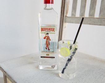 Miniature Beefeater GIN Bottle and Gin & Tonic Drink CHOICE  -  Miniature Drinks for 1:6 Scale Fashion Dolls and Action Figures