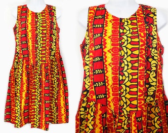 Vintage 60's Bright Orange Red & Yellow Hawaiian Drop Waist Dress M