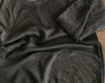 Custom Monogram Dark Grey Heather Bella Sweatshirt