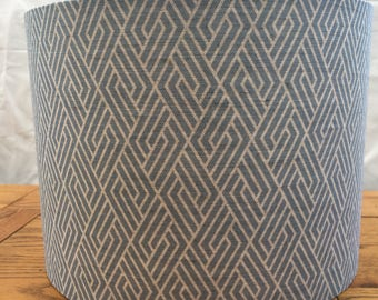 Handmade contemporary 'Vera' blue geometric print on natural linen/cotton blend fabric drum lampshade