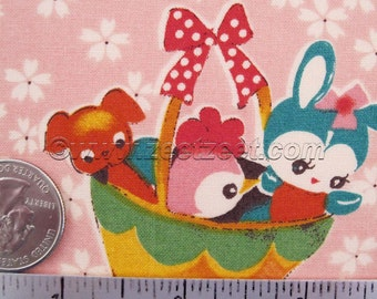 Rare & Out of Print - RETRO ANIMALS Pink Vintage Style Japan Cotton Quilt Fabric - Japanese Import Elephants Bunny Ball