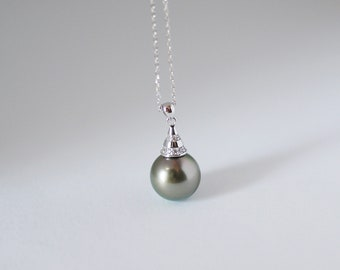 Tahitian pearl necklace,Sterling silver,Cute lovely CZ hat pendant bail,White gold plated,Dark moss olive green rose gemstone,Gift jewelry