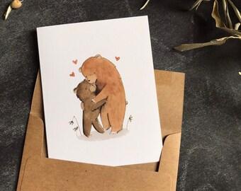 Greeting Cards Bear - Birthday Card Bear - Notecards bear - Watercolor Card - Whimsical Card - Love Card - Thinking of You card