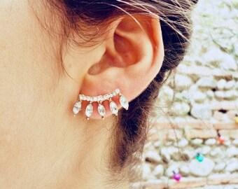 Ear jackets - cuff - earrings gold - crystal - earcuff - Crystal - gift - woman earrings - Valentine's day