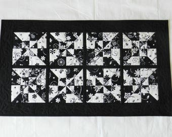 Modern Black-and-White Table Runner or Wall Hanging - Striking Double Pinwheel Pattern - Machine Quilted with Leaves in Border - Cool Gift!