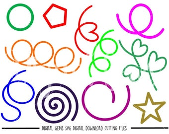 Shapes and Swirl Flourishes svg / dxf / eps files. Digital download. Compatible with Cricut and Silhouette machines. Small commercial use ok