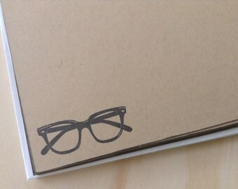 retro eyeglasses stationery set / eyeglass note card set / vintage inspired flat note cards and envelopes / set of 10