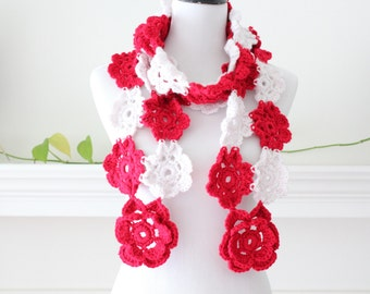 Crocheted Red, Linen color Scarf