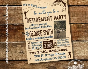 Fly fishing retirement party invitation fisherman adult retirement party vintage photo invite digital printable invitation 14196