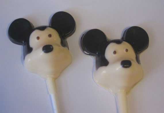 One dozen black and white mouse lollipop suckers party favors