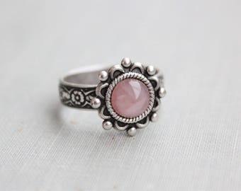Rose Quartz Ring. Sunburst Ring