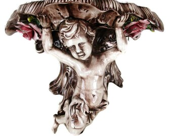 Ornate Wall Mounted Console Shelf Angel Putti Cherub Porcelain Corbel Italian