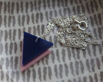 """Navy on Pink Laser Cut Acrylic Geometric Triangle Necklace 20"""" Silver Chain"""