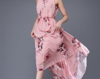 bridesmaid dress, flower dress, chiffon dress, romantic dress, womens dresses, wedding dress, sleeveless dress, maxi dress C875