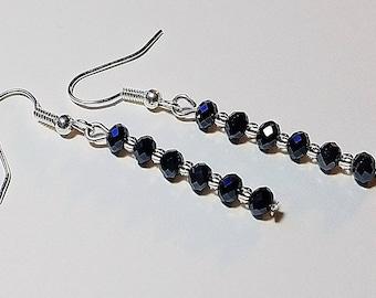 Black Crystal Strand Earrings/ Straight Earrings/ Dangle Earrings/ Crystal Earrings/ Black Stick Earrings/ Long Earrings/ Crystal Jewelry