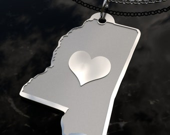 Mississippi State Heart Pendant Necklace - Personalized State Necklace- SOLID .925 Etched Sterling Silver Gift
