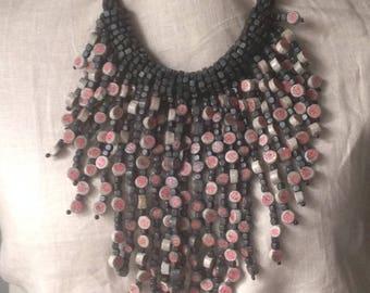 rara avis hsn recycled paper black/grey/pink drop necklace