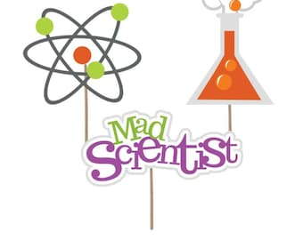 Mad Scientist cupcake toppers, Scientist birthday party,  Mad Scientist Decorations, Science party decorations, Scientist theme party