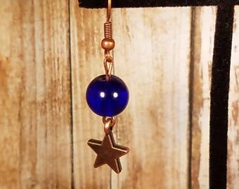 Cobalt Blue and Copper Star Earrings