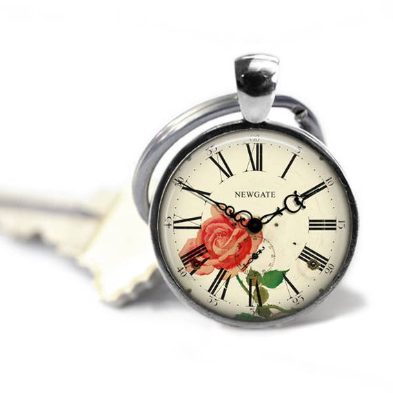Flower clock clock face keychain watch fob clock necklace aloadofball Gallery