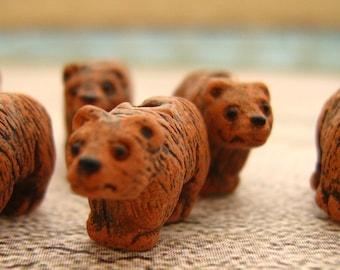 20 Tiny Brown Bear Beads