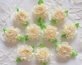 10 Handmade Flowers With Leaves (1-1/4 inches) In Lt  Yellow MY-322-03 Ready To Ship