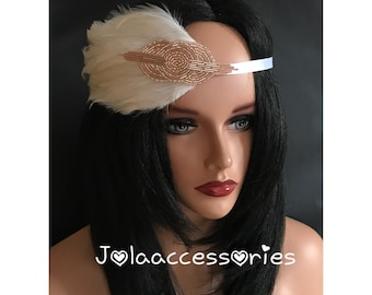 1920s flapper rhinestone headpiece headband vintage inspired feather bridal hairband feather flapper headband great gatsby rose gold champag