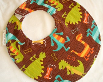Baby Boy Bib - Dino Dudes - Cotton bib with terry cloth backing