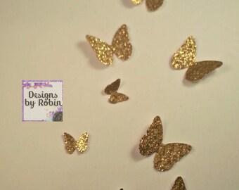 3D Gold butterfly wall art, small butterflies, swarm of gold butterflies, butterfly wall art, baby room decor, bridal shower, wedding decor