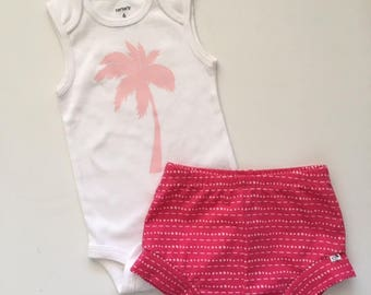 "NEW! ""Summer Sunset""/Light and Hot Pink/Infant Shorties Set/Toddler Shorties Set"