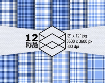 "Blue Plaid Digital Paper Instant Download 12 Blue Plaid Digital Paper Pack 300dpi 12""x12"" JPEG Files Scrapbooking, Crafting"