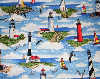 BTY Lighthouses & Sailboats Print 100% Cotton Quilt Craft Fabric by the Yard