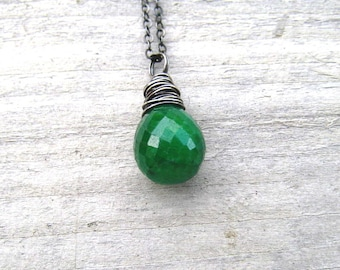 Genuine Emerald Necklace,  Natural Emerald Pendant,  Oxidized Sterling Silver,  May Birthstone, Wire Wrapped, Emerald Jewelry