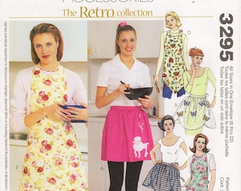 All Sizes Pattern - McCall's Apron Pattern 3295 - Misses' Retro Style Aprons in Five Variations - Bib or Waist Aprons; Hostess or Utility