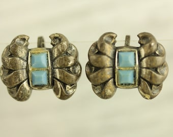 Vintage Blue Glass Bow Sterling Silver Earrings 1940's Screwback (ET261 )