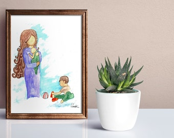 Mother and Children Print, Mother and Child Print, Motherhood print, Mother and Children Painting, Mother and Children, Family Decor, Home