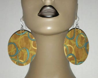 Uniquely Graphic Print Round Fabric Earrings, Multi Color, Women Earrings, Fashion Earrings, Fabric Earring, Large Earrings, Round Earrings