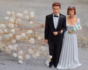 Wedding Cake Topper, Bride and Groom, Vintage Wedding, Vintage Cake Topper, Wedding Cake Decor, Cake Topper, Brunette Bride, Tiara