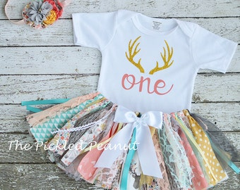 Deer Antler Outfit Birthday Outfit Deer Mount 1st Birthday Outfit 1st Birthday Girl Outfit Baby Tutu Baby Girl Baby Skirt Birthday Dress