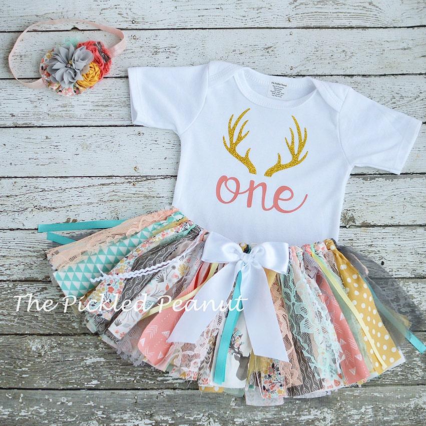 Deer Antler Outfit Birthday Outfit Deer Mount 1st Birthday