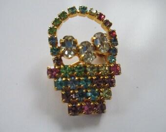 Vintage Spring Time Basket of pastel rhinestones  brooch label pin gold toned  no markings