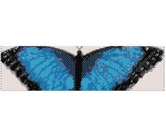 Peyote Bracelet Pattern Blue Butterfly