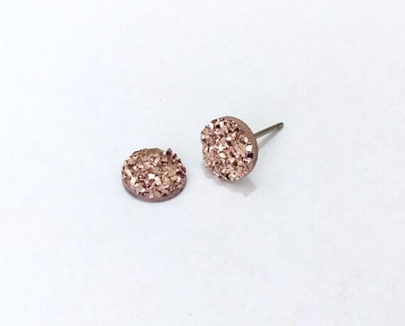 Rose Gold Pink Rock Crystal Druzy Earrings Pierced studs 8mm Hypoallergenic Titanium Allergy safe Wedding Jewelry Minimalist Bridesmaid Gift