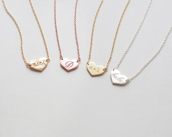 Dainty Heart Necklace, Personalized Engraved Initials Heart Tags Necklace, Simple Layering Necklaces in Silver, Gold, Rose Gold #D50