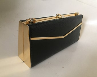 Vintage minaudier WK Italy evening bag clutch black lizard with gold deco accents w chain strap