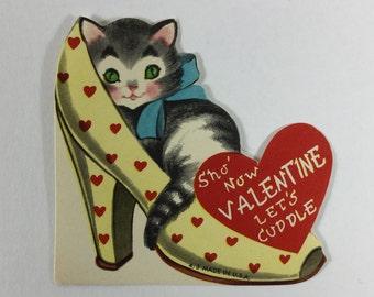 Cuddly Kitten in Cinderella's Shoe Anthro Anthropomorphic Vintage 1950s Unused Valentine Novelty Greeting Card