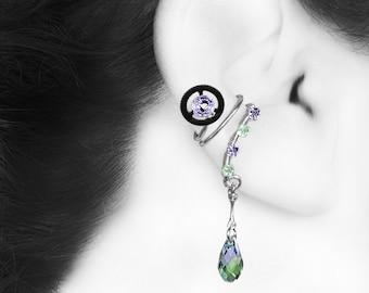 Swarovski Crystal Steampunk Ear Cuff, Cartilage Earring, No Piercing, Purple Crystal, Green Crystal, Bridal Jewelry, , Aglaea III v7