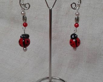 """dangle earrings """"pretty lady bugs"""""""